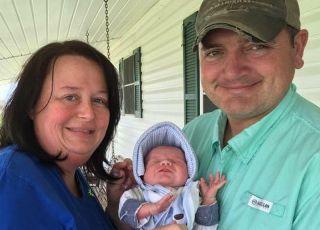 Udona Hebert z mężem i synkiem