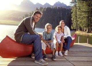 wakacje, rodzina, urlop, jezioro, dzieci