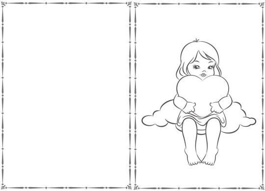 walentynki kolorowanki  dziewczynka na chmurce z serduszkiem