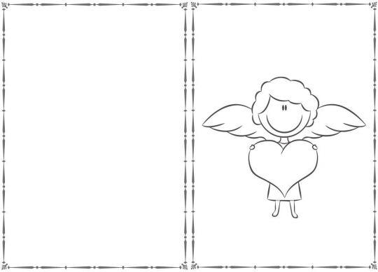 walentynki kolorowanki z aniołkiem i serduszkiem