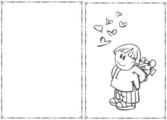 walentynki kolorowanki z chłopcem