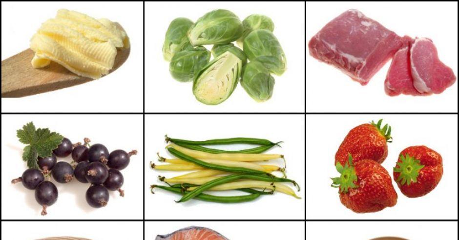 warzywa, owoce, mięso, ryba, kasza, nabiał