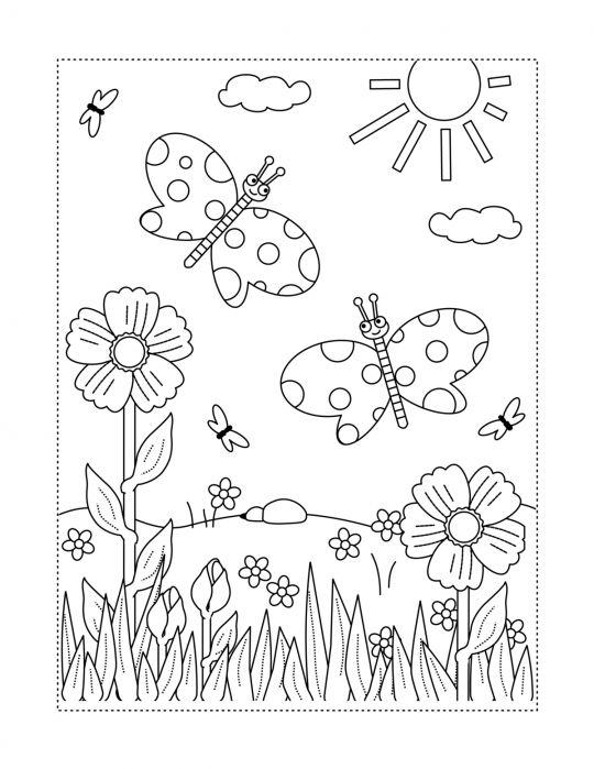 wiosenne kolorowanki łąka