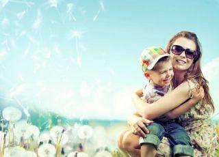 wiosna, dziecko, mama