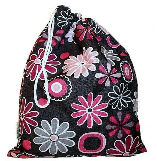 worek do przedszkola worek na kapcie czarny w kwiatki
