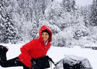 Wózek dziecięcy z nartami
