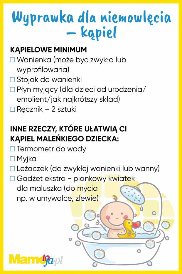 Wyprawka dla noworodka - kąpiel - lista zakupów do wydruku