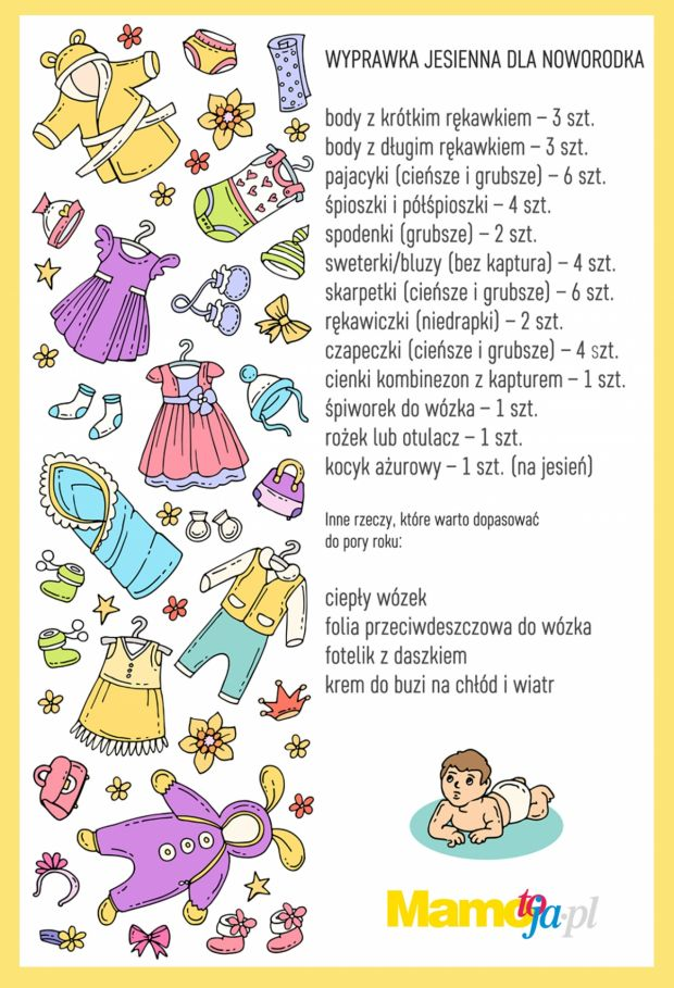 Wyprawka jesienna dla noworodka lista do druku