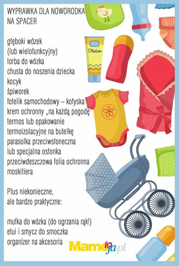 Wyprawka dla noworodka na spacer - lista zakupów do wydruku