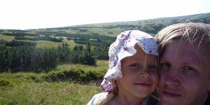Z dzieckiem w górach - Ewa Cichecka-Mertuszka i jej córeczka, Ala