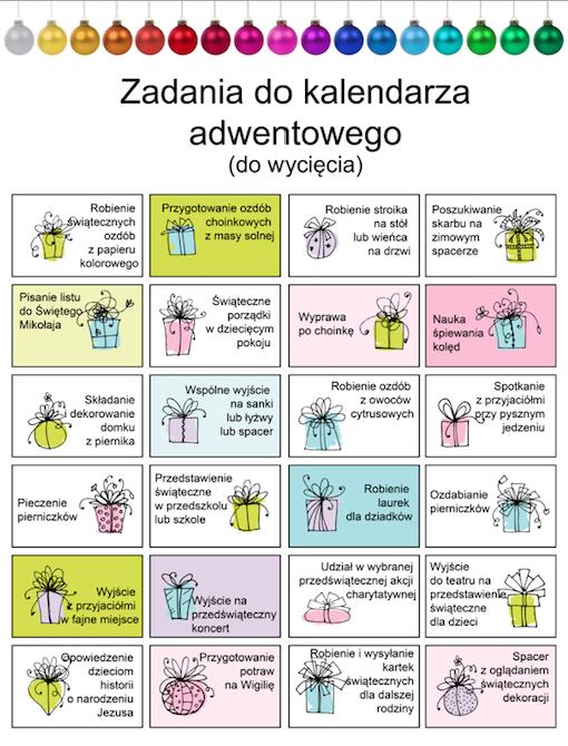 zadania do kalendarza adwentowego gotowy szablon z zadaniami