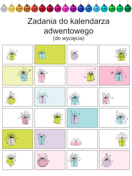 zadania do kalendarza adwentowego pusty szablon
