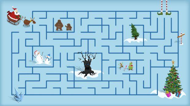 Zagadka bożonarodzeniowa z labiryntem
