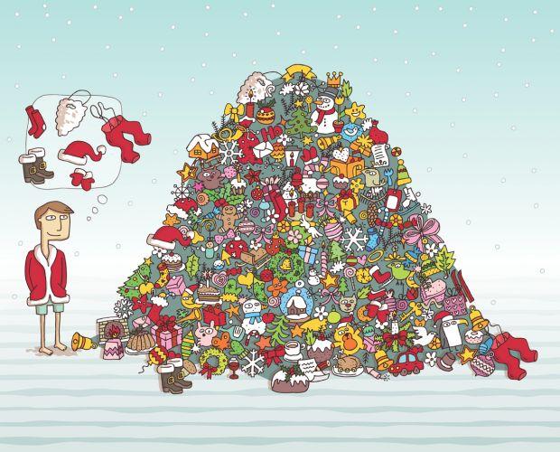 Zagadka bożonarodzeniowa z ubraniami Mikołaja