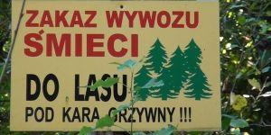 Zakaz wywozu śmieci do lasu - tablica ostrzegawcza