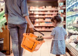 zakupy, dziecko, kobieta, sklep