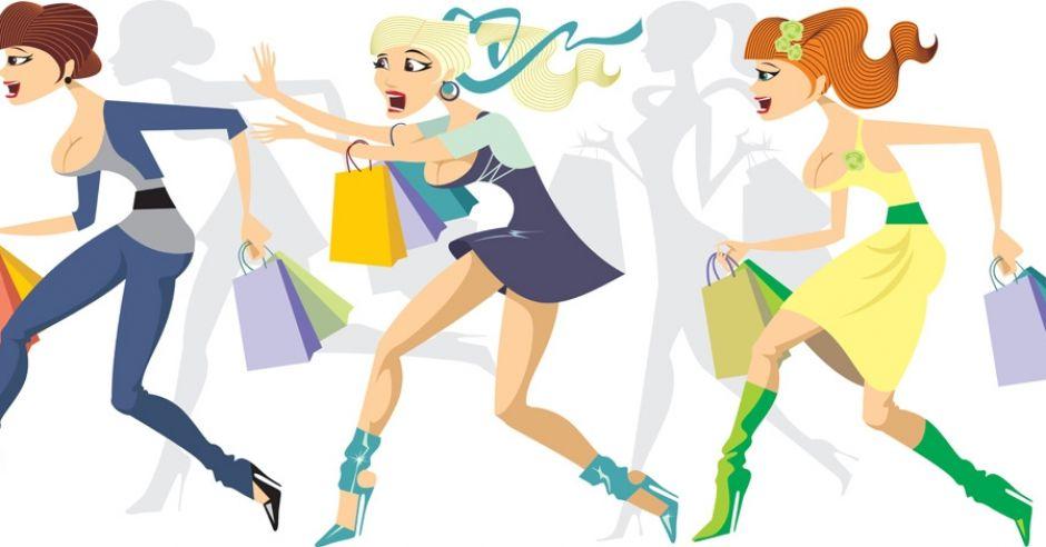zakupy, kobiety, promocja, bieg