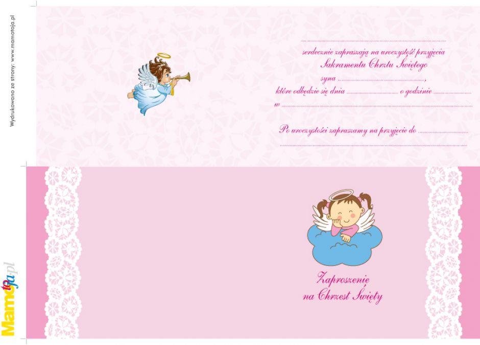Zaproszenie na Chrzest Św. do druku dla dziewczynki