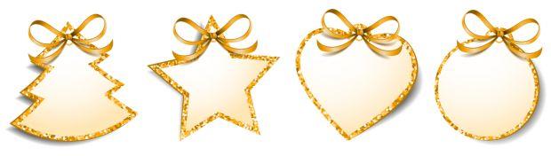 zawieszki na prezenty świąteczne do druku: złote