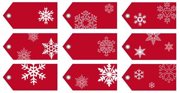 zawieszki na prezenty świąteczne do druku: czerowne