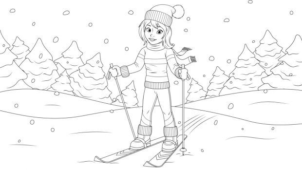 zima kolorowanki: narty