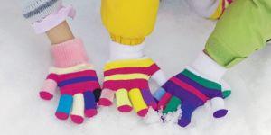 zima, ręce, rękawiczki, śnieg