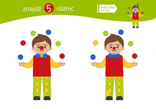 znajdź różnice dla dzieci klaun