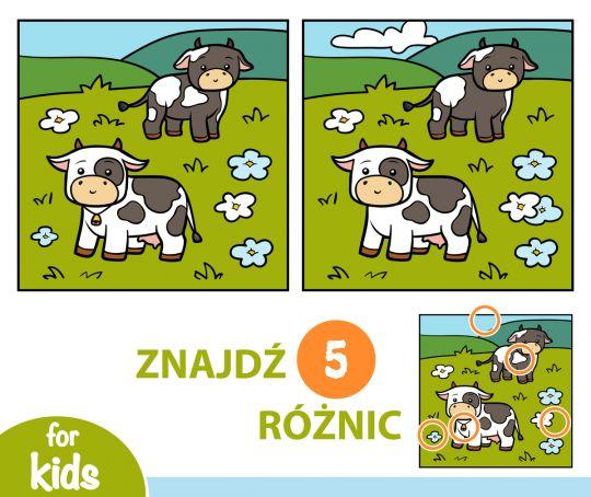 znajdź różnice dla dzieci krowy