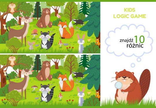 znajdź różnice dla dzieci zwierzaki w lesie