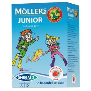 Moller's Junior tran norweski w kapsułkach o smaku truskawkowym marki Peter Moller - zdjęcie nr 1 - Bangla