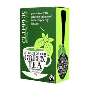 Green tea with ginseng enhanced with rapsberry flavour, zielona Herbata marki Clipper - zdjęcie nr 1 - Bangla
