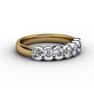Half Eternity, pierścionek zdobiony brylantami z białego i żółtego 18K złota marki Impressimo - zdjęcie nr 1 - Bangla
