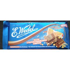 Wedel mleczna z cząstkami pomarańczowymi i chrupkami, czekolada mleczna marki Wedel - zdjęcie nr 1 - Bangla