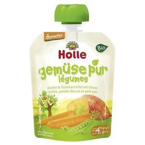 Holle, Ekologiczny Mus z marchewki i słodkich ziemniaków z zielonym groszkiem BIO marki Holle - zdjęcie nr 1 - Bangla