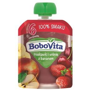 BoboVita 100% smaku, Mus owocowy Truskawki i wiśnie z bananem marki Nutricia - zdjęcie nr 1 - Bangla