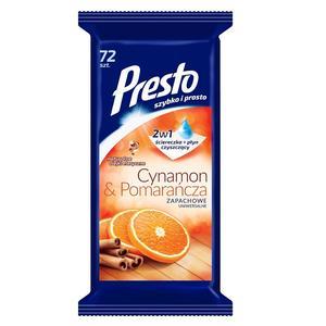 Uniwersalne ściereczki nawilżane z płynem czyszczącym 2w1 Cynamon i Pomarańcza marki Presto - zdjęcie nr 1 - Bangla