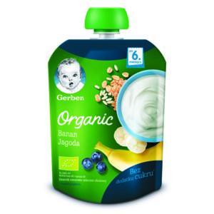 Deserek owocowo-mleczno-zbożowy w tubce Banan Jagoda marki Dania gotowe Gerber - zdjęcie nr 1 - Bangla