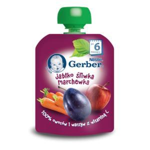 Deserek owocowo-warzywny w tubce Jabłko, marchewka, śliwka marki Dania gotowe Gerber - zdjęcie nr 1 - Bangla