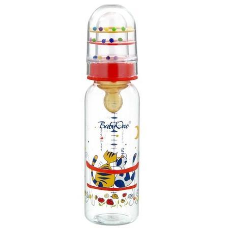 Butelka o prostym lub profilowanym kształcie z grzechotką dla dzieci 0 - 6 m marki Baby Ono - zdjęcie nr 1 - Bangla