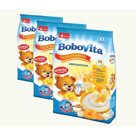 Kaszka Pyszne Śniadanko - mleczna owsianka, mleczna manna 3 owoce, mleczna ryżowo-kukurydziana marki BoboVita - zdjęcie nr 1 - Bangla