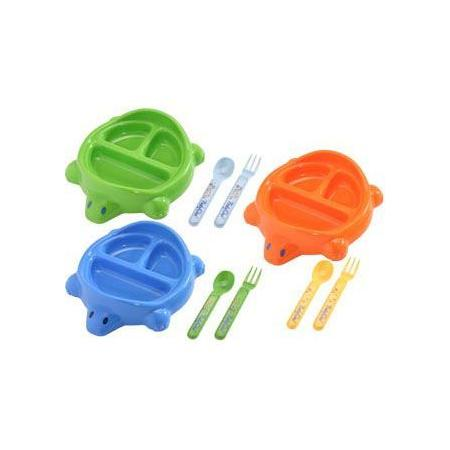 Trójdzielny talerz - żółw. Różne kolory marki Baby Ono - zdjęcie nr 1 - Bangla