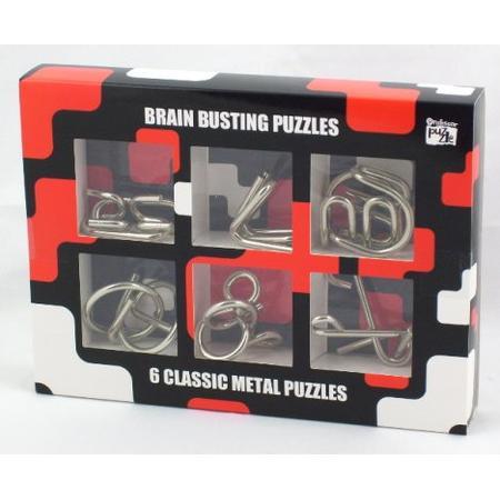 Brain Busting Puzzles, 6 Classic metal Puzzles, Zestaw Łamigłówek, PPBM0501 marki Professor Puzzle - zdjęcie nr 1 - Bangla