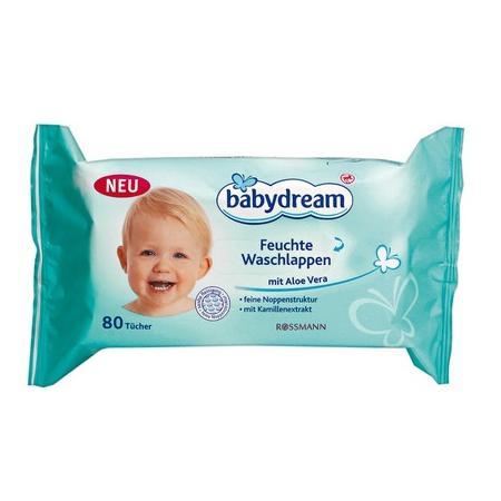 Babydream Feuchte Waschlappen, Chusteczki nawilżane dla niemowląt z dodatkiem rumianku i aloesu marki Rossmann - zdjęcie nr 1 - Bangla