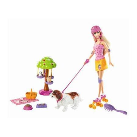 Barbie na rolkach z pieskami N7651 marki Mattel - zdjęcie nr 1 - Bangla
