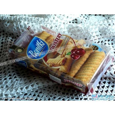 Bonitki, Twistery, Kruche ciastka z nadzieniem o smaku wiśniowym marki Biedronka - zdjęcie nr 1 - Bangla