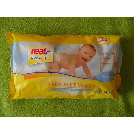Baby Wet Wipes, Chusteczki nawilżane dla dzieci z rumiankiem i pantenolem marki Real - zdjęcie nr 1 - Bangla
