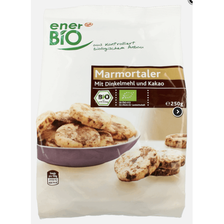 enerBio, Marmortaler mit Dinkelmehl und Kakao, Kruche ciasteczka z kakao marki Rossmann - zdjęcie nr 1 - Bangla