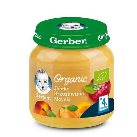 Gerber Organic, Jabłko Brzoskwinia Morela - mus owocowy dla niemowląt marki Gerber - zdjęcie nr 1 - Bangla