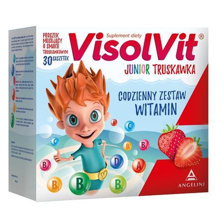 Junior Truskawka, Proszek musujący o smaku truskawkowym, suplement diety marki Visolvit - zdjęcie nr 1 - Bangla