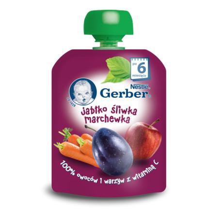 Deserek owocowo-warzywny w tubce Jabłko, marchewka, śliwka marki Gerber - zdjęcie nr 1 - Bangla